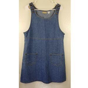 Liz Claiborne Jean Dress Front Pockets Sz L